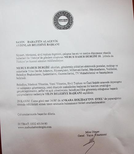 Başkan Alageyik 3. Kez Yılın Belediye Başkanı Seçildi